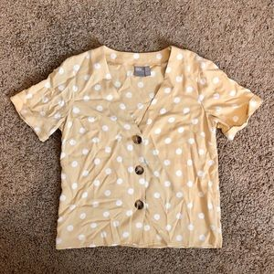 Asos yellow and white polka dot shirt